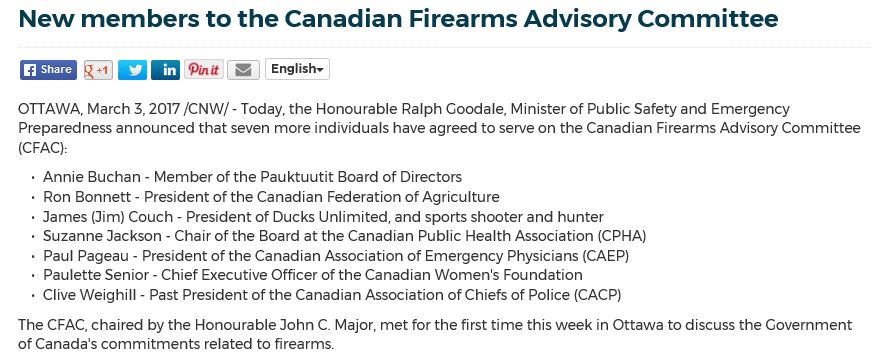 GOODALE REJECTS HOUSE OF COMMONS FIREARMS PETITION SIGNED BY 16,330 – Therefore, your petitioners, call upon the Minister of Public Safety and Emergency Preparedness to require individuals appointed to the Canadian Firearms Advisory Committee to have earned their Possession and Acquisition License (PAL), without which they lack a baseline understanding of the activities they are tasked with […]