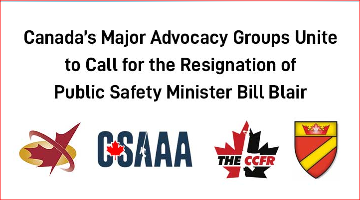 CANADA'S FOUR MAJOR ADVOCACY GROUPS CALL FOR BILL BLAIR'S RESIGNATION